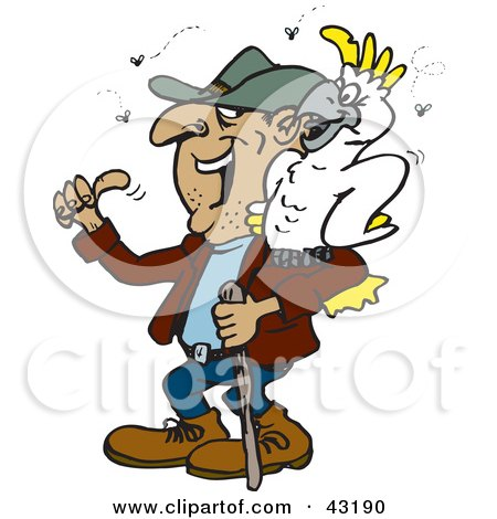 Clipart Illustration of a Smelly Hiker With A Cockatoo On His Shoulder by Dennis Holmes Designs
