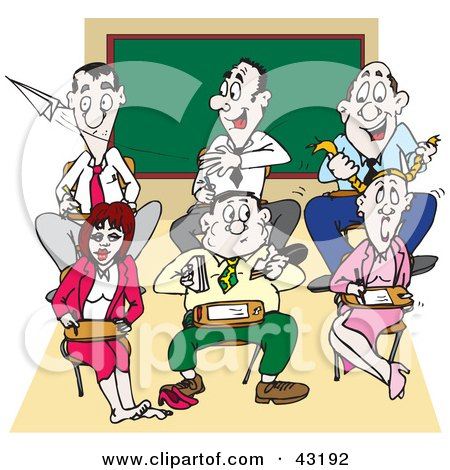 Clipart Illustration of a Group Of Adults Acting Like Immature Children In A Class Room by Dennis Holmes Designs