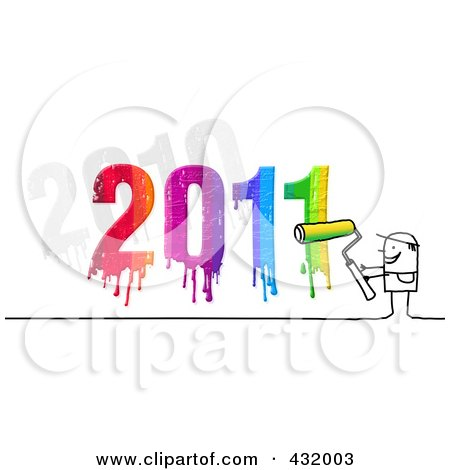 Royalty-Free (RF) Clipart Illustration of a Stick Man Painter With A Dripping Colorful 2011 by NL shop