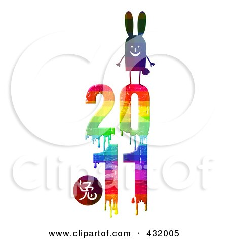 Royalty-Free (RF) Clipart Illustration of a Rabbit On Top Of A Dripping Colorful 2011 For The Chinese Year Of The Rabbit by NL shop