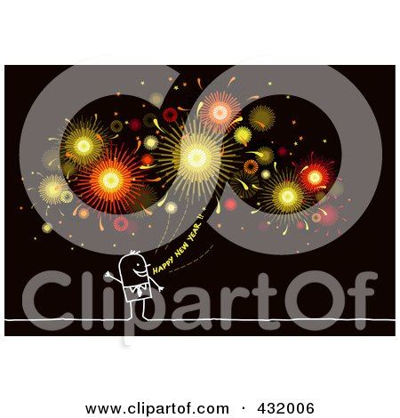 Royalty-Free (RF) Clipart Illustration of a Stick Man Shouting Happy New Year Under Fireworks On Black by NL shop