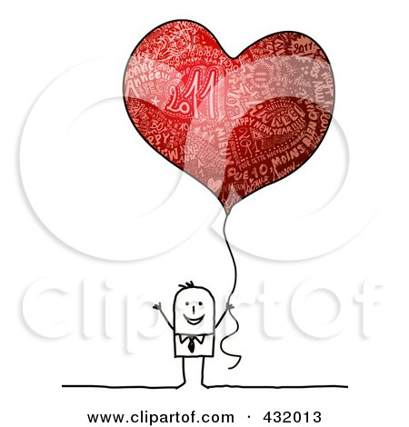 Royalty-Free (RF) Clipart Illustration of a Stick Man Holding A Red Heart Shaped New Year Balloon by NL shop