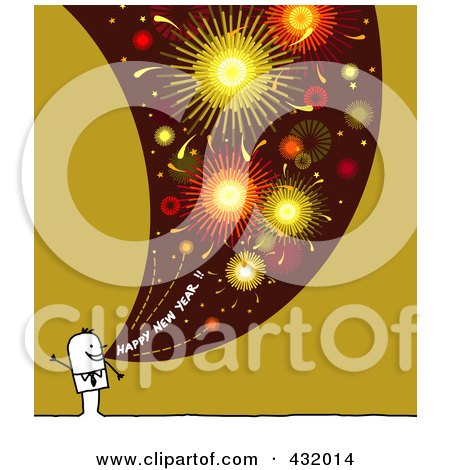 Royalty-Free (RF) Clipart Illustration of a Stick Man Shouting Happy New Year With Fireworks On Green And White by NL shop