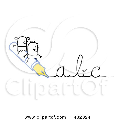 Royalty-Free (RF) Clipart Illustration of a Stick Boy And Girl Riding On An Ink Pen Writing Abc In Cursive by NL shop