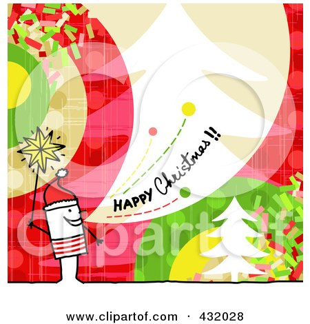 Royalty-Free (RF) Clipart Illustration of a Stick Man Holding A Star And Shouting Happy Christmas On A Colorful Background by NL shop
