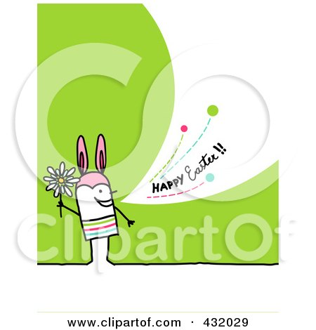 Royalty-Free (RF) Clipart Illustration of a Stick Man Holding A Flower And Wearing Bunny Ears And Shouting Happy Easter On A Green Background by NL shop