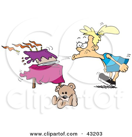 Clipart Illustration of a Girl Blowing Out Her Birthday Cake With A Strong Breath by Dennis Holmes Designs