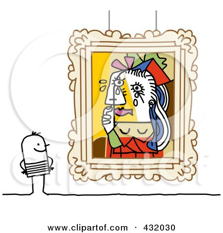 Royalty-Free (RF) Clipart Illustration of a Stick Man Admiring Picasso Styled Art In A Museum by NL shop