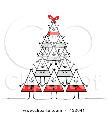 Royalty-Free (RF) Clipart Illustration of a Happy Triangle Family Forming A Pyramid by NL shop