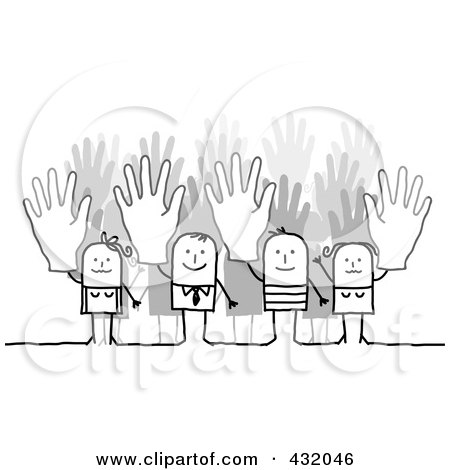 Royalty-Free (RF) Clipart Illustration of a Stick Business Team Holding Up Their Hands by NL shop