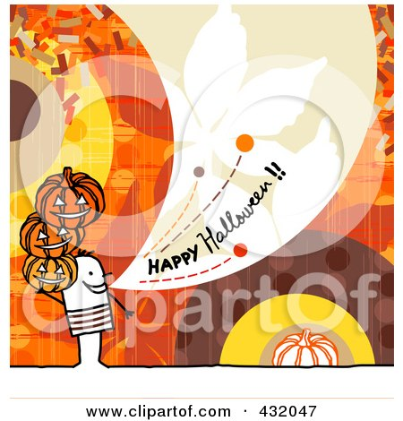 Royalty-Free (RF) Clipart Illustration of a Stick Man Holding Pumpkins And Shouting Happy Halloween On A Colorful Background by NL shop
