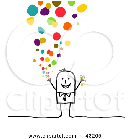 Royalty-Free (RF) Clipart Illustration of a Stick Businessman Releasing Confetti by NL shop