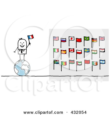 Royalty-Free (RF) Clipart Illustration of a Stick Man Standing On A Globe And Holding An Italian Flag by NL shop