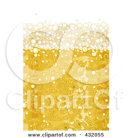 Royalty-Free (RF) Clipart Illustration of a Background Of Champagne Bubbles With Happy New Year Text by NL shop