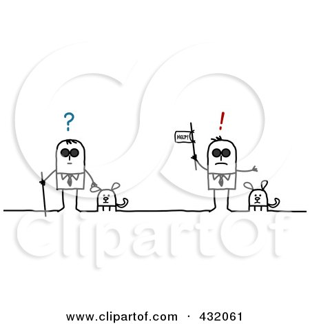 Royalty-Free (RF) Clipart Illustration of a Confused And Blind Man In Need Of Help, With Dogs by NL shop