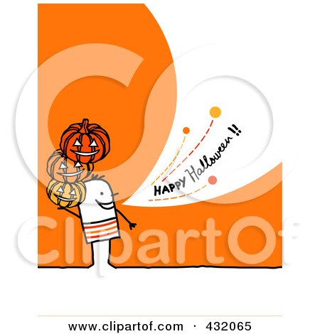 Royalty-Free (RF) Clipart Illustration of a Stick Man Holding Pumpkins And Shouting Happy Halloween On An Orange Background by NL shop