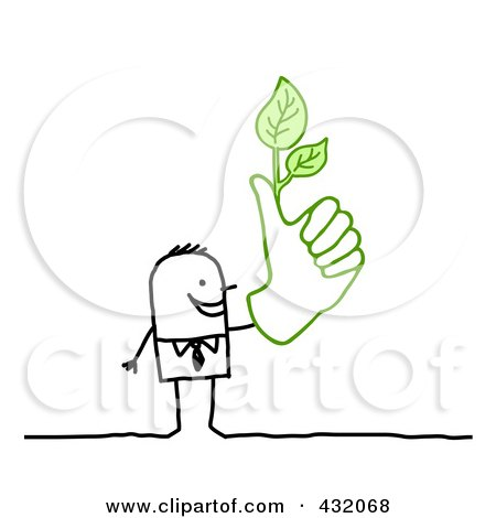 Royalty-Free (RF) Clipart Illustration of a Stick Businessman With A Green Thumb by NL shop