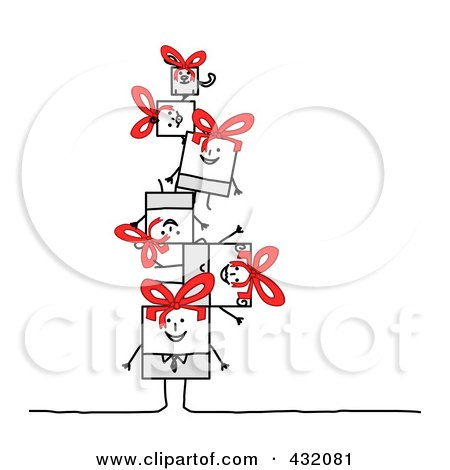 Royalty-Free (RF) Clipart Illustration of a Square Stick Family And Dog In A Pile by NL shop