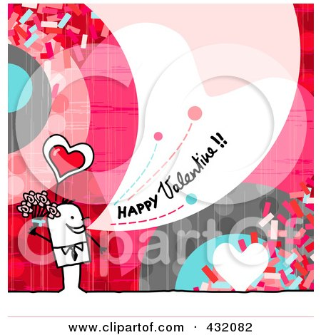 Royalty-Free (RF) Clipart Illustration of a Stick Man Holding Flowers And Shouting Happy Valentine On A Colorful Background by NL shop
