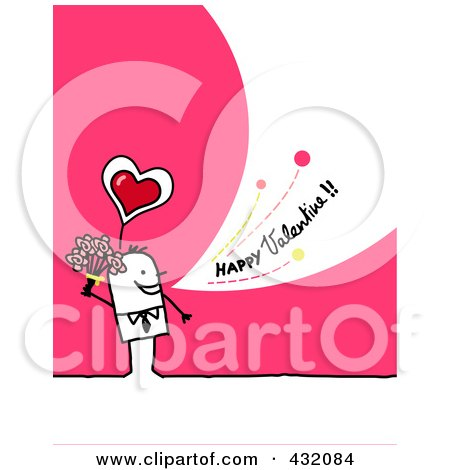 Royalty-Free (RF) Clipart Illustration of a Stick Man Holding Flowers And Shouting Happy Valentine On A Pink Background by NL shop