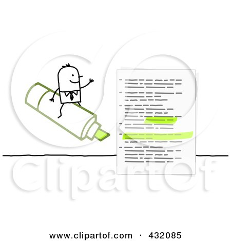 Royalty-Free (RF) Clipart Illustration of a Stick Businessman Sitting On AGreen Highlighter By A Document by NL shop