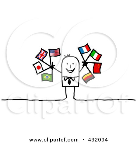Royalty-Free (RF) Clipart Illustration of a Stick Man Holding Flags by NL shop