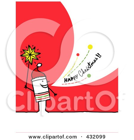 Royalty-Free (RF) Clipart Illustration of a Stick Man Holding A Star And Shouting Happy Christmas On A Red Background by NL shop