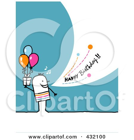 Royalty-Free (RF) Clipart Illustration of a Stick Man Holding A Gift And Shouting Happy Birthday On A Turquoise Background by NL shop