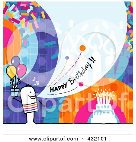Royalty-Free (RF) Clipart Illustration of a Stick Man Holding A Gift And Shouting Happy Birthday On A Colorful Background by NL shop