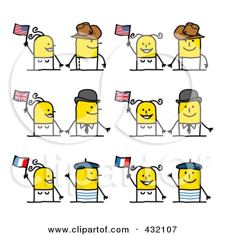 Royalty-Free (RF) Clipart Illustration of a Digital Collage Of Cultural Stick Couples With Flags by NL shop