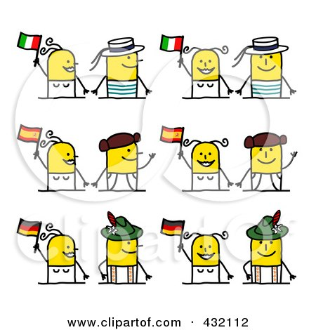 Royalty-Free (RF) Clipart Illustration of a Digital Collage Of Cultural Stick Couples With Italian, Spanish And German Flags by NL shop