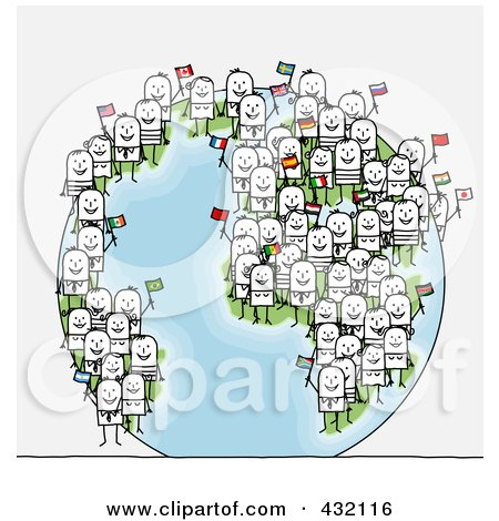 Royalty-Free (RF) Clipart Illustration of a Globe With International Stick Business People Holding Flags by NL shop