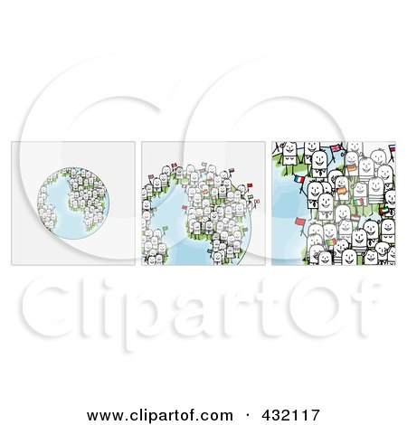 Royalty-Free (RF) Clipart Illustration of a Digital Collage Of Pieces Of A Globe With International Stick Business People Holding Flags - 1 by NL shop