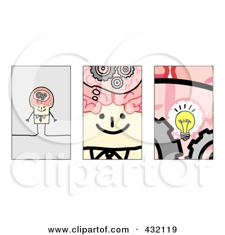 Royalty-Free (RF) Clipart Illustration of a Digital Collage Of Pieces Of A Stick Businsesman's Brain - 1 by NL shop
