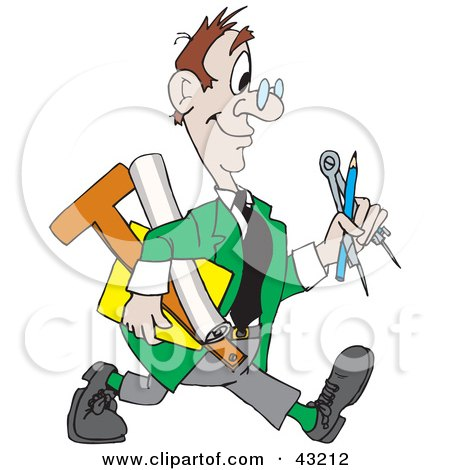 Clipart Illustration of a Happy Architect Walking With His Tools by Dennis Holmes Designs