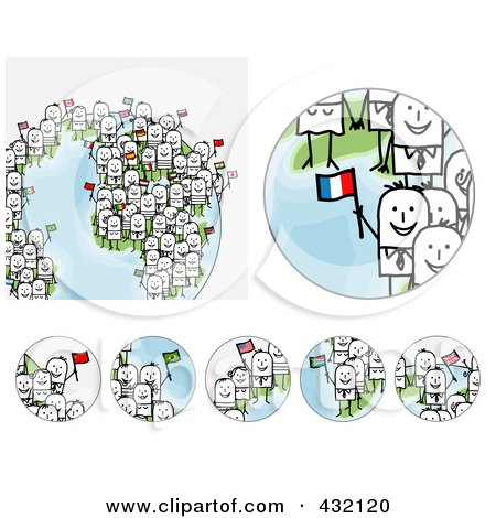 Royalty-Free (RF) Clipart Illustration of a Digital Collage Of Pieces Of A Globe With International Stick Business People Holding Flags - 2 by NL shop