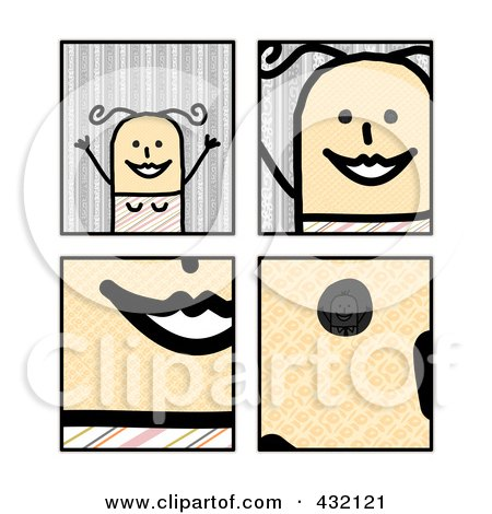 Royalty-Free (RF) Clipart Illustration of a Digital Collage Of Pieces Of A Happy Stick Woman by NL shop