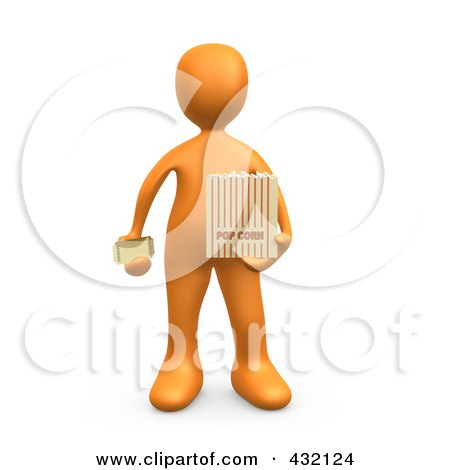 Royalty-Free (RF) Clipart Illustration of a 3d Orange Person Holding A Movie Ticket And A Bag Of Popcorn by 3poD