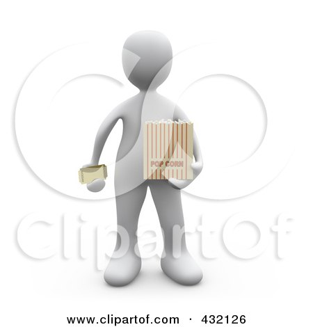 Craft Ideas Movie Ticket Stubs on Of A 3d White Person Holding A Movie Ticket And A Bag Of Popcorn Jpg