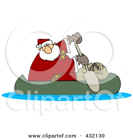 Royalty-Free (RF) Clipart Illustration of Santa In A Canoe With His Sack by djart