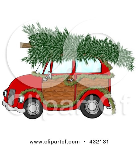 Royalty-Free (RF) Clipart Illustration of a Red Woody Car Decorated With A Garland And A Christmas Tree On The Roof by djart