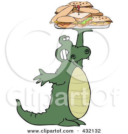 Royalty-Free (RF) Clipart Illustration of an Alligator Holding Up A Lunch Tray Of Sandwiches by djart