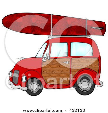 Royalty-Free (RF) Clipart Illustration of a Red Woody Car With A Red Starry Surfboard On The Roof by djart