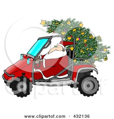 Royalty-Free (RF) Clipart Illustration of Santa Driving A Mud Bug With A Christmas Tree On The Back by djart