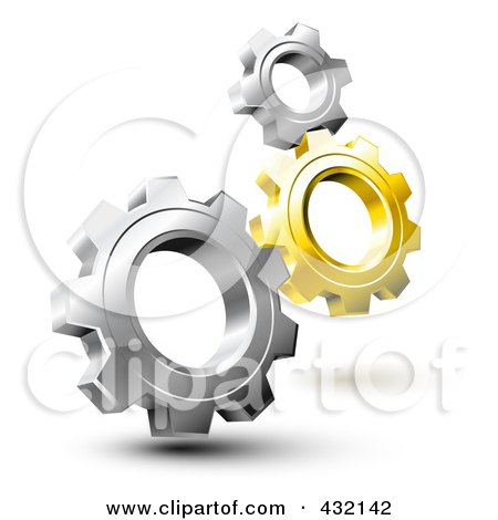 3d Gold And Silver Gears Posters, Art Prints