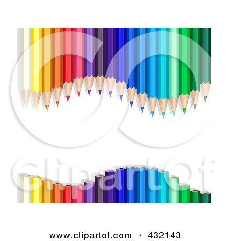 Royalty-Free (RF) Clipart Illustration of a Wavy Colored Pencil Border by Oligo