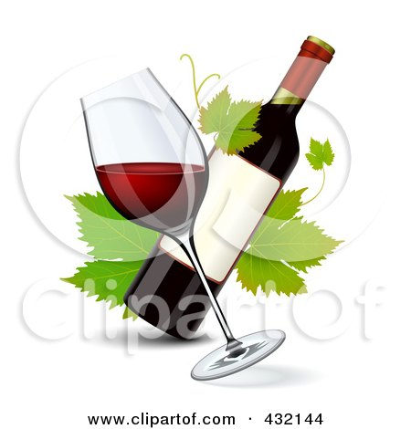Royalty-Free (RF) Clipart Illustration of a Tilted Glass Of Red Wine With A Wine Bottle And Grape Leaves by Oligo