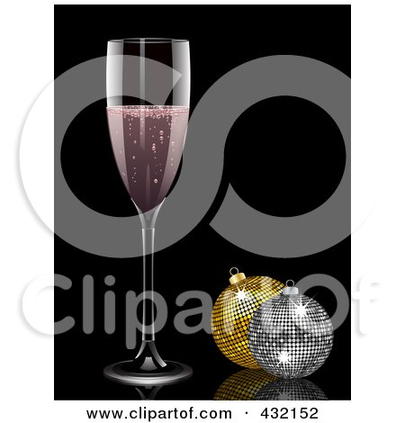 Royalty-Free (RF) Clipart Illustration of a Glass Of Pink Champagne And Sparkly Christmas Ornaments by elaineitalia