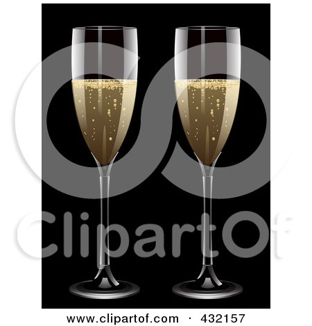 Royalty-Free (RF) Clipart Illustration of a Two Glasses Of Bubbly Champagne by elaineitalia
