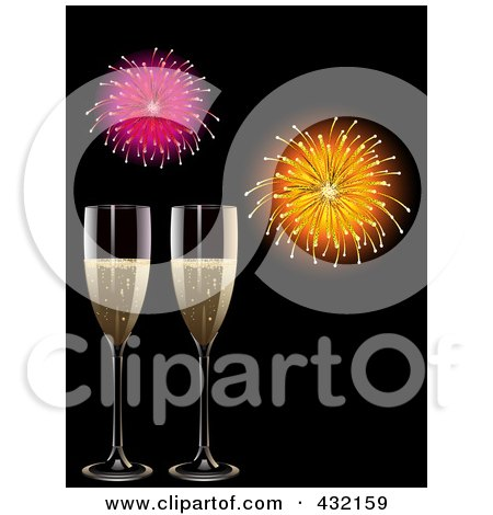 Royalty-Free (RF) Clipart Illustration of Two Glasses Of Champagne Under New Year Fireworks On Black by elaineitalia